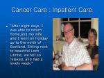 cancer care inpatient care