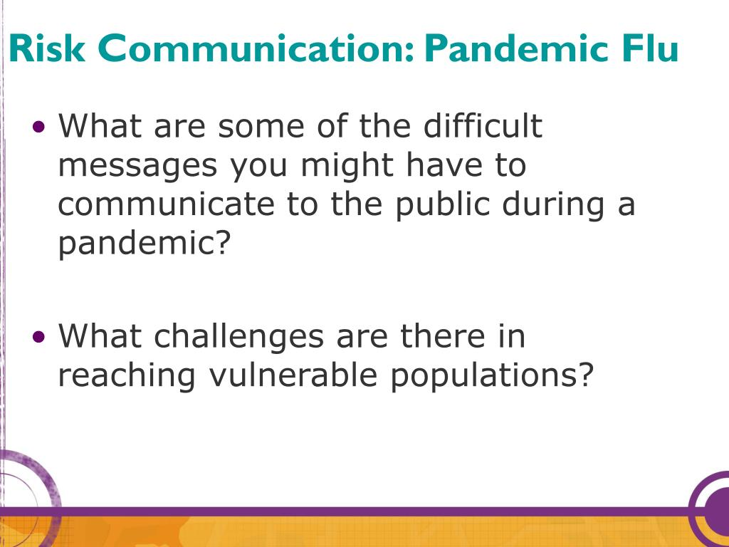 Risk Communication: Pandemic Flu