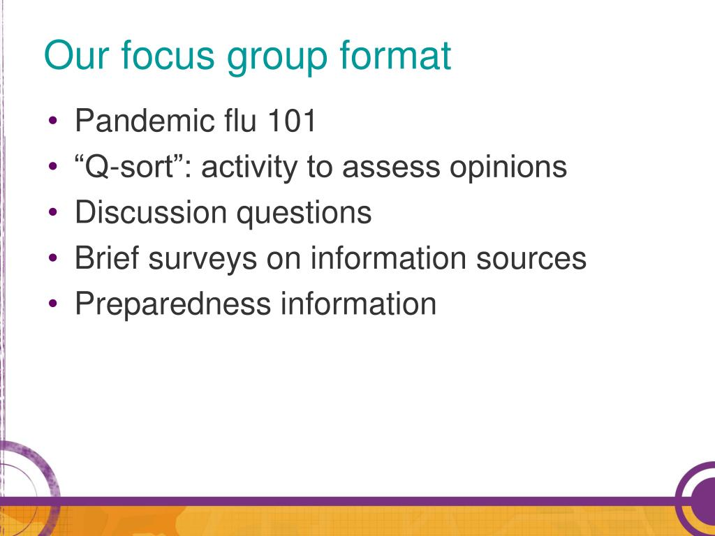 Our focus group format