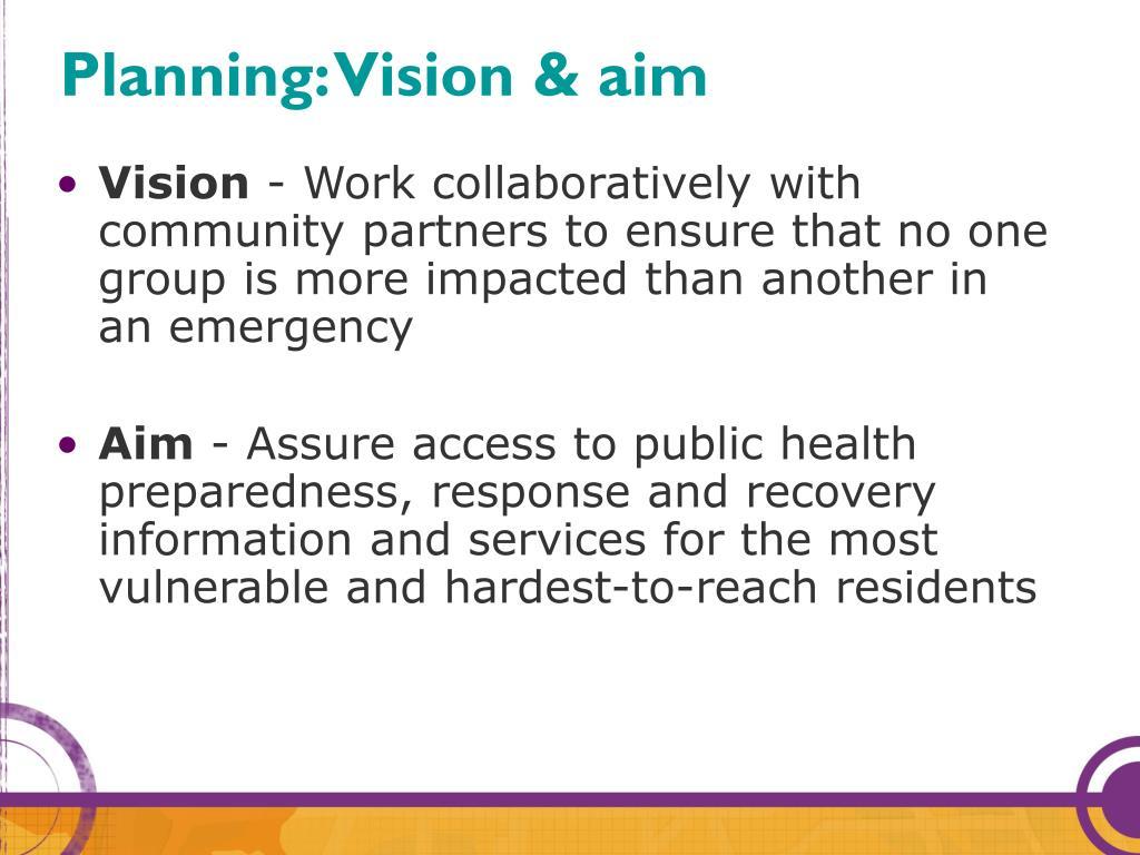 Planning: Vision & aim