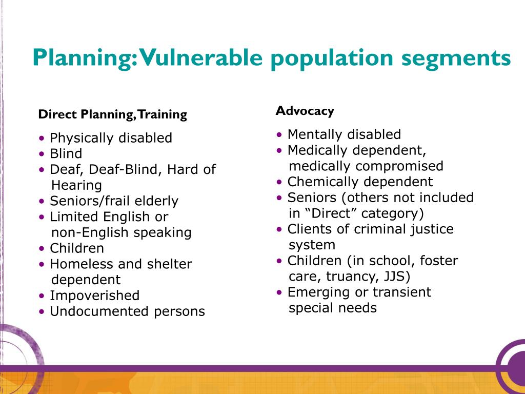 Planning: Vulnerable population segments