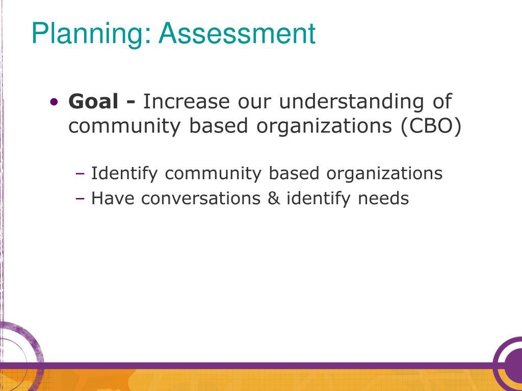 Planning: Assessment