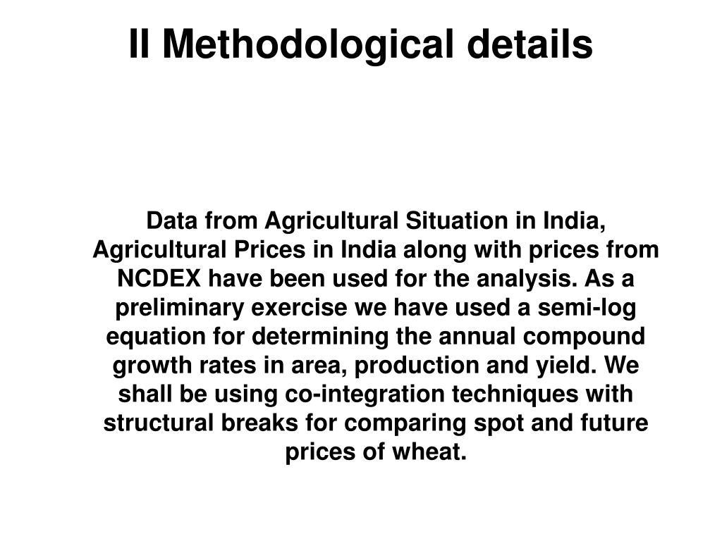 II Methodological details