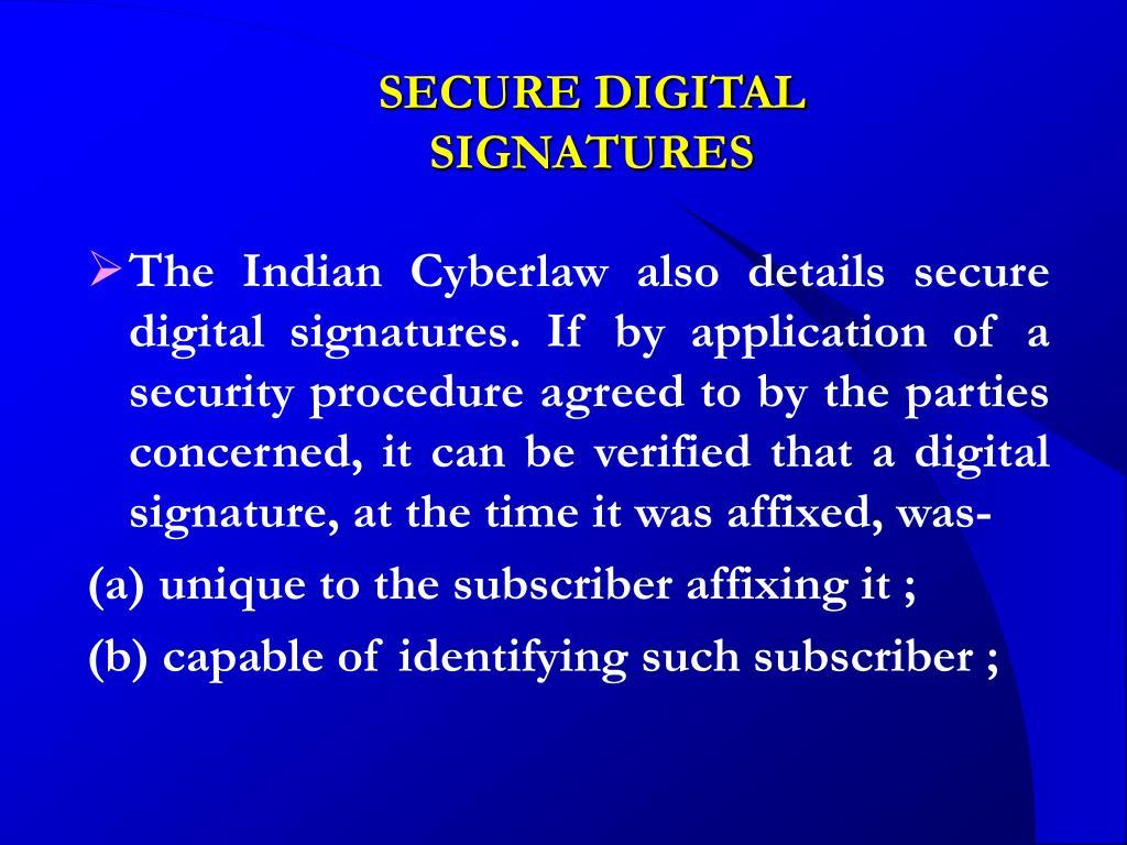 SECURE DIGITAL SIGNATURES