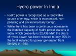 hydro power in india