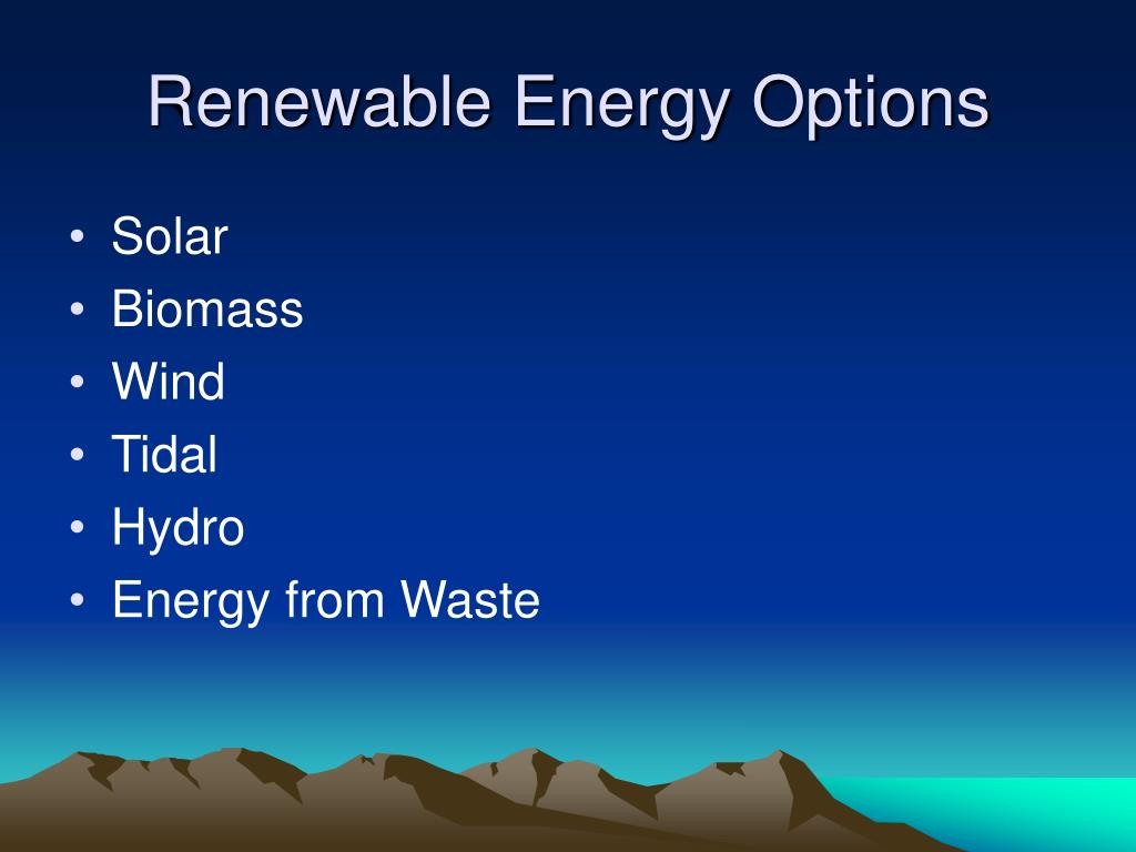 Renewable Energy Options