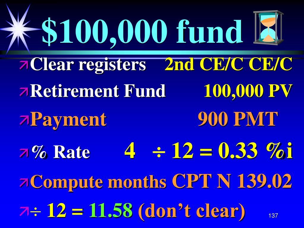 $100,000 fund