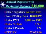 annual deposits with beginning balance 10 00051