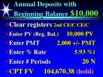 annual deposits with beginning balance 10 00080