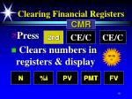 clearing financial registers