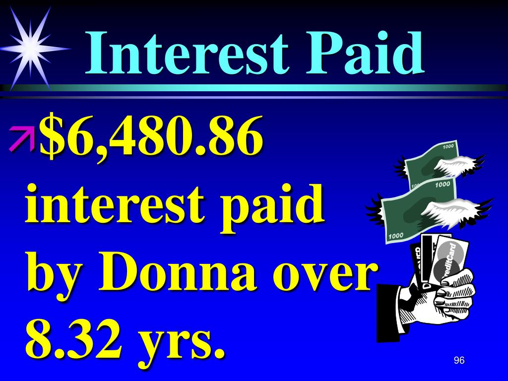 $6,480.86   interest paid   by Donna over 8.32 yrs.