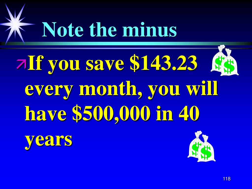 If you save $143.23 every month, you will have $500,000 in 40 years