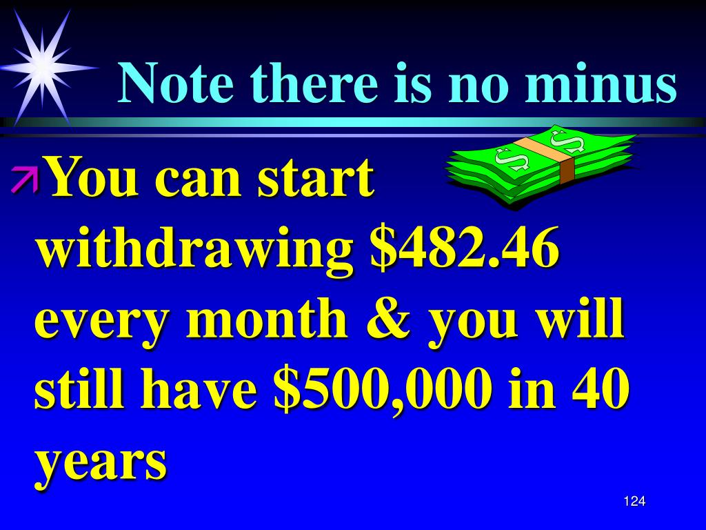 You can start withdrawing $482.46 every month & you will still have $500,000 in 40 years