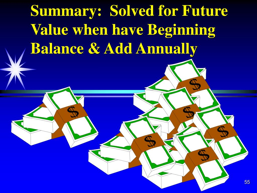 Summary:  Solved for Future Value when have Beginning Balance & Add Annually