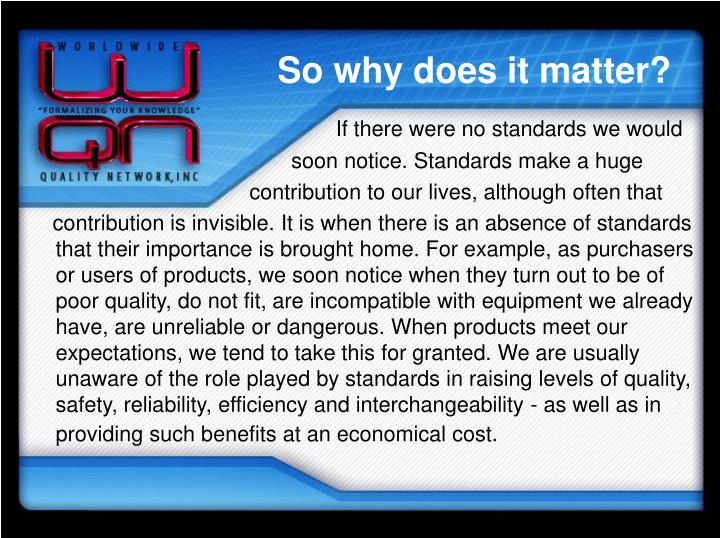 So why does it matter?