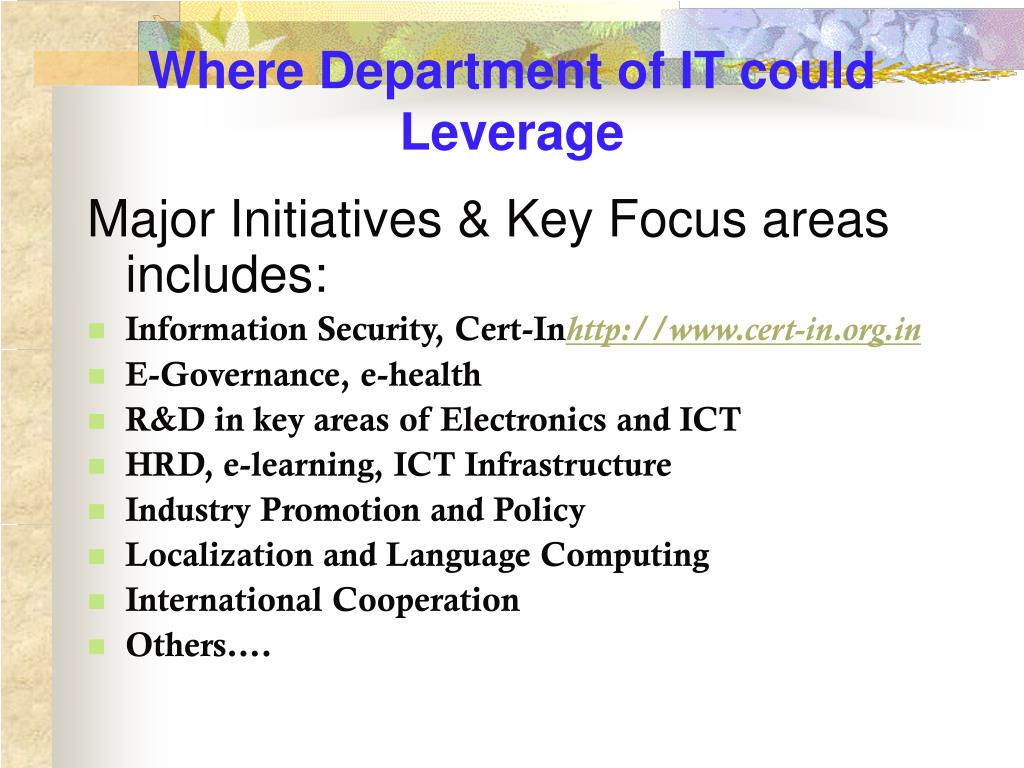 Where Department of IT could Leverage