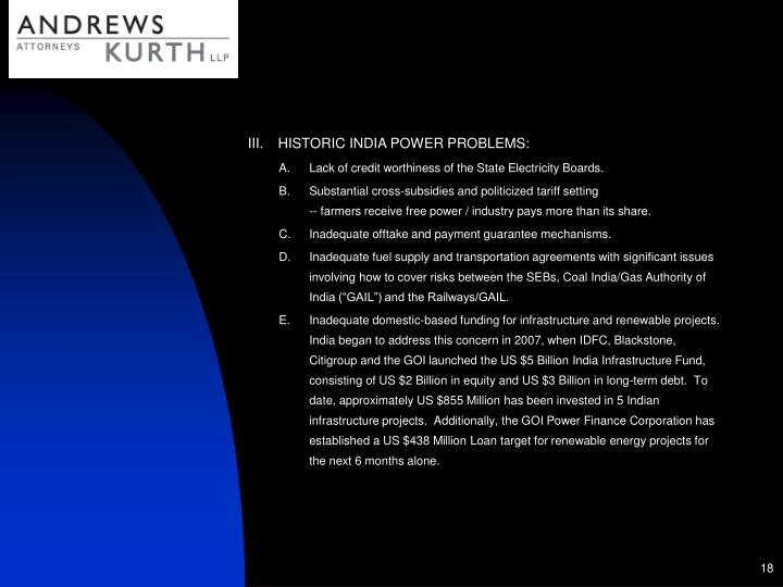 HISTORIC INDIA POWER PROBLEMS: