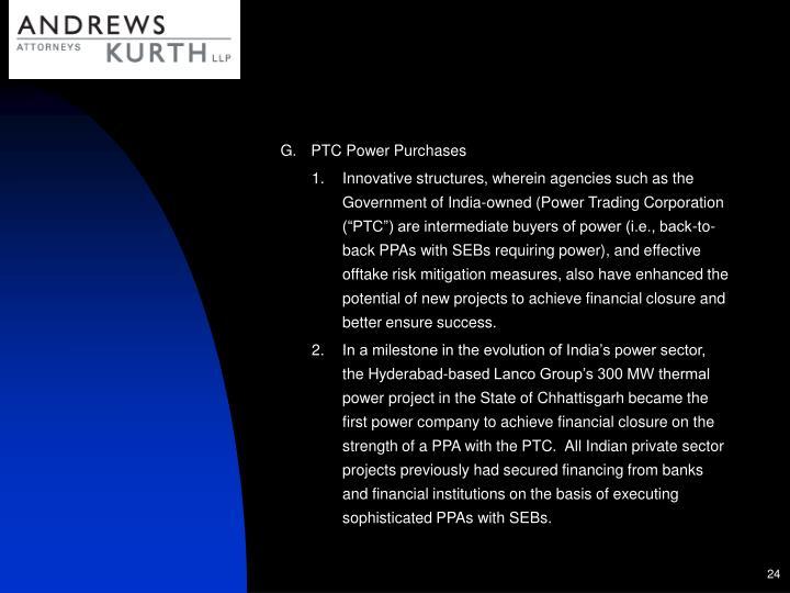 PTC Power Purchases