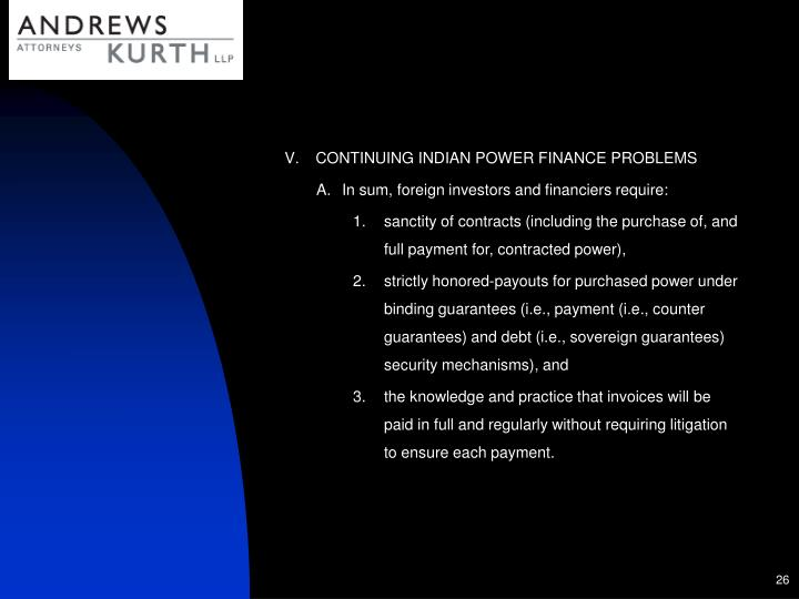 CONTINUING INDIAN POWER FINANCE PROBLEMS