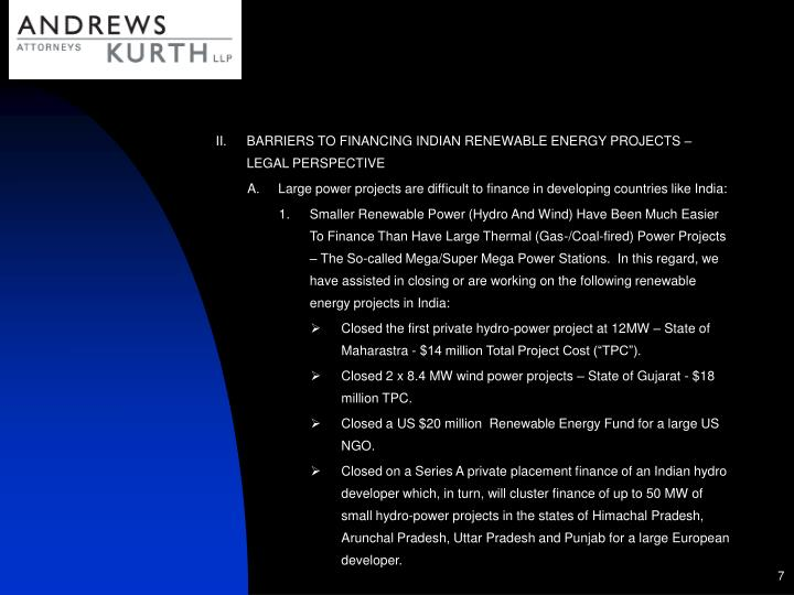 BARRIERS TO FINANCING INDIAN RENEWABLE ENERGY PROJECTS – LEGAL PERSPECTIVE