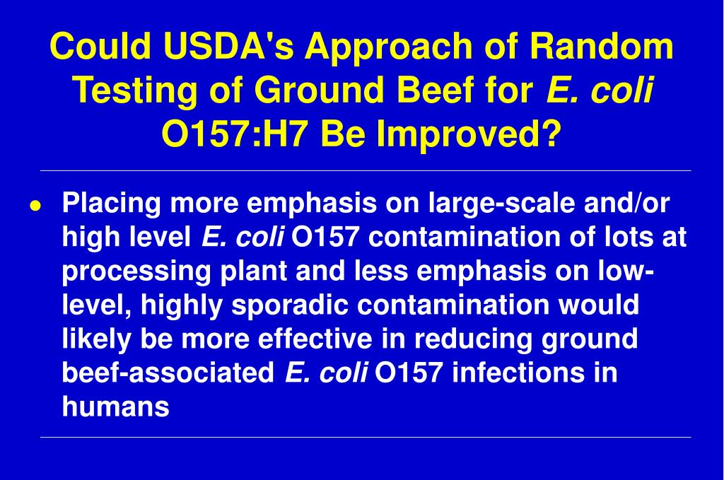 Could USDA's Approach of Random Testing of Ground Beef for