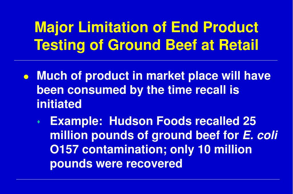 Major Limitation of End Product Testing of Ground Beef at Retail