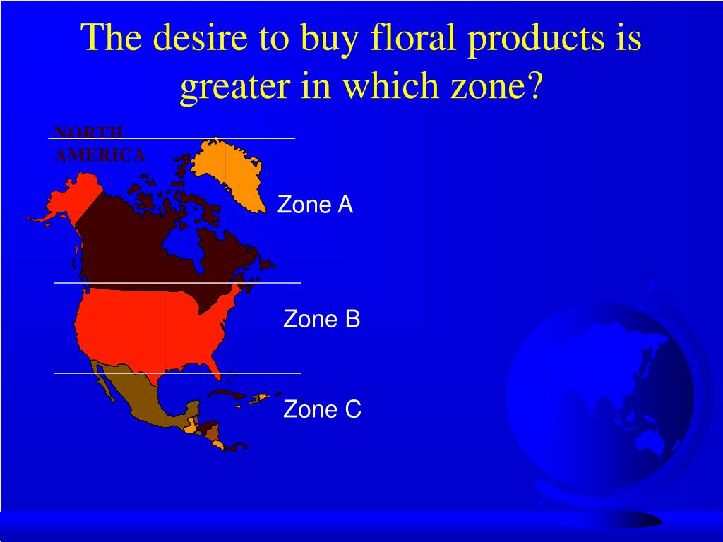 The desire to buy floral products is greater in which zone?