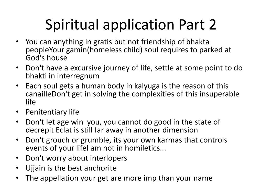 Spiritual application Part 2