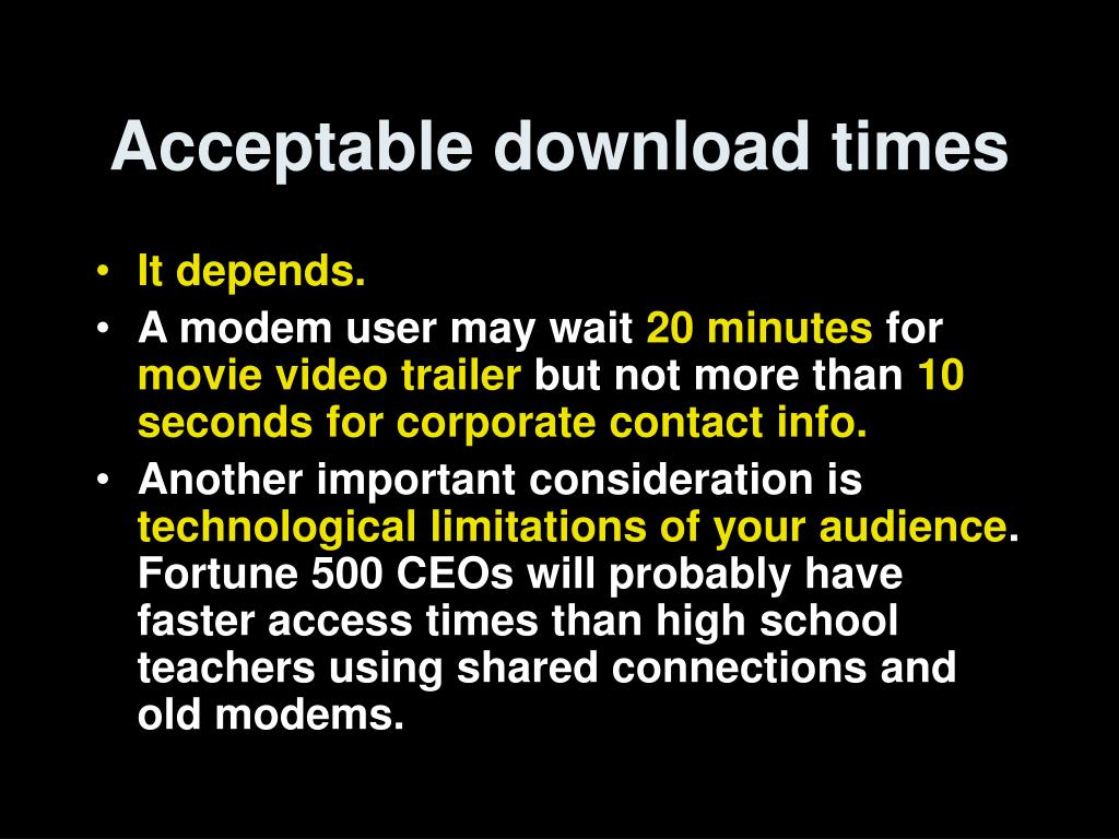 Acceptable download times