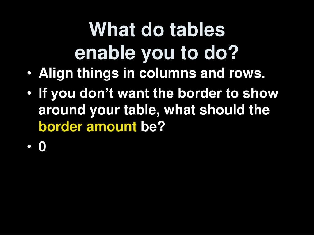 What do tables