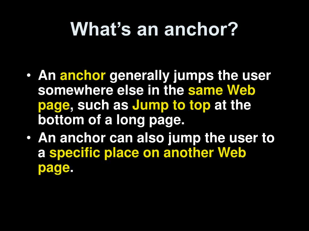 What's an anchor?