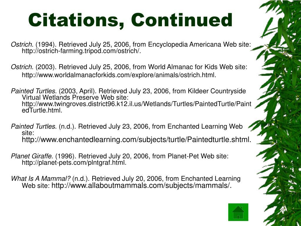 Citations, Continued