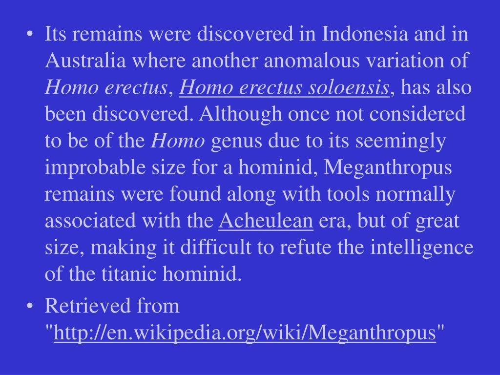 Its remains were discovered in Indonesia and in Australia where another anomalous variation of