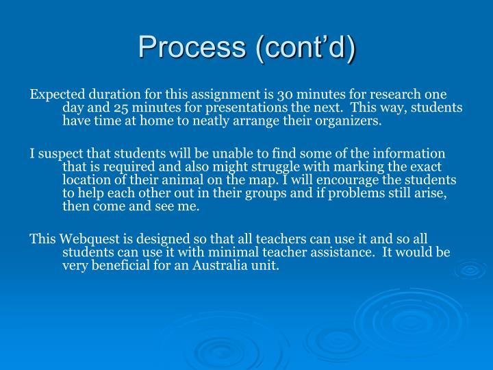 Process (cont'd)
