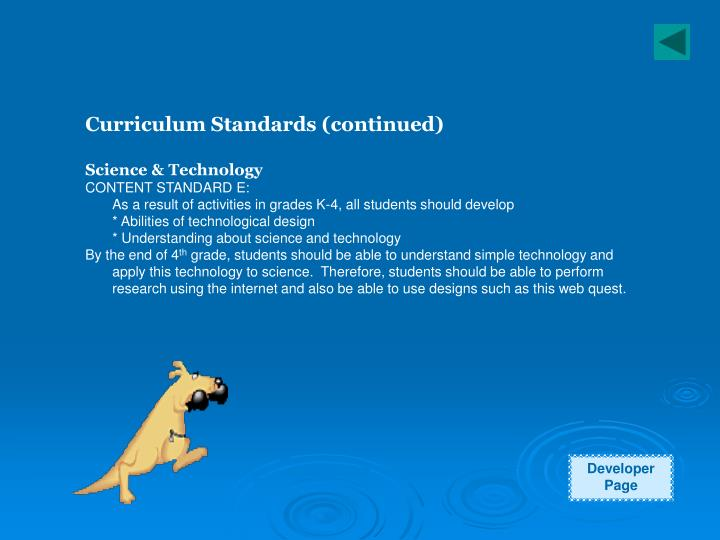 Curriculum Standards (continued)