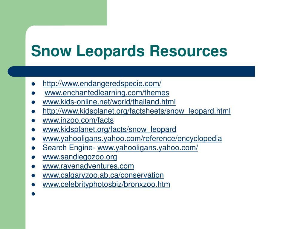 Snow Leopards Resources