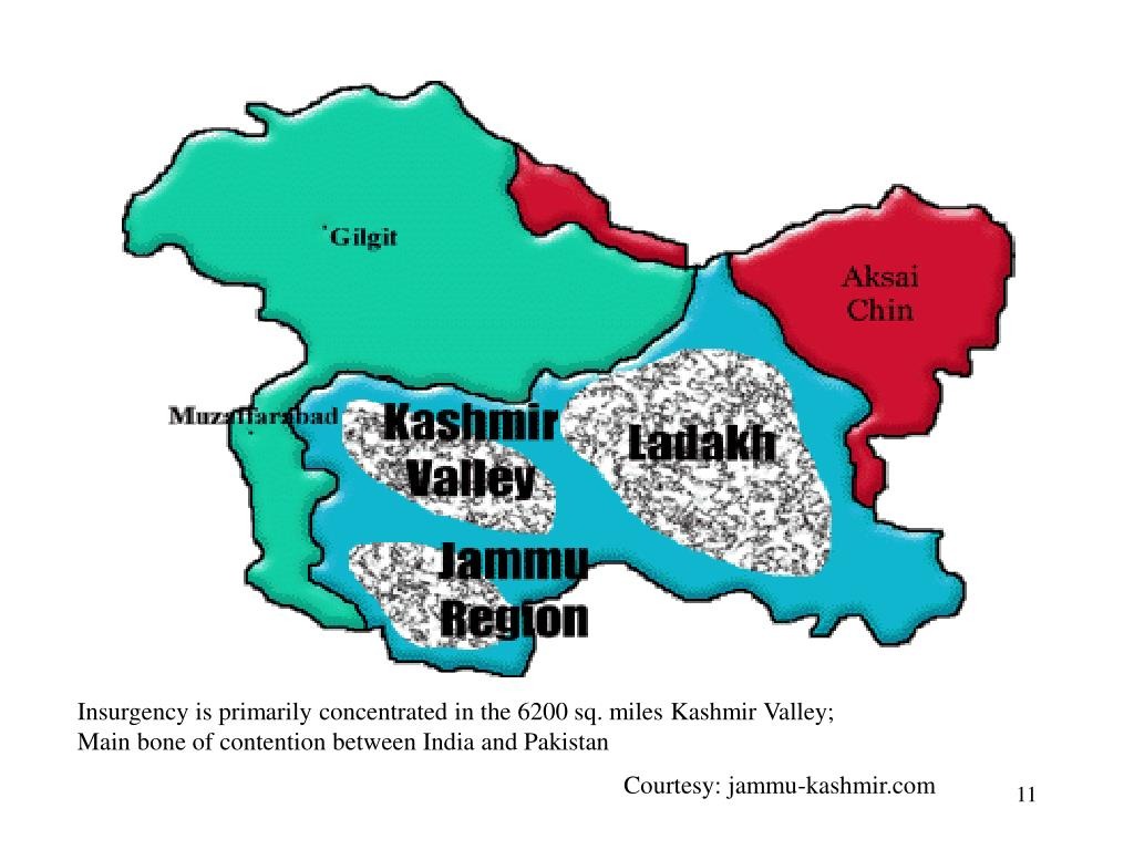 Insurgency is primarily concentrated in the 6200 sq. miles Kashmir Valley; Main bone of contention between India and Pakistan