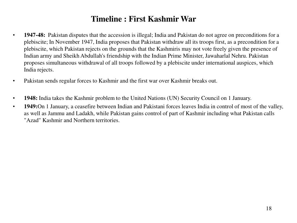 Timeline : First Kashmir War