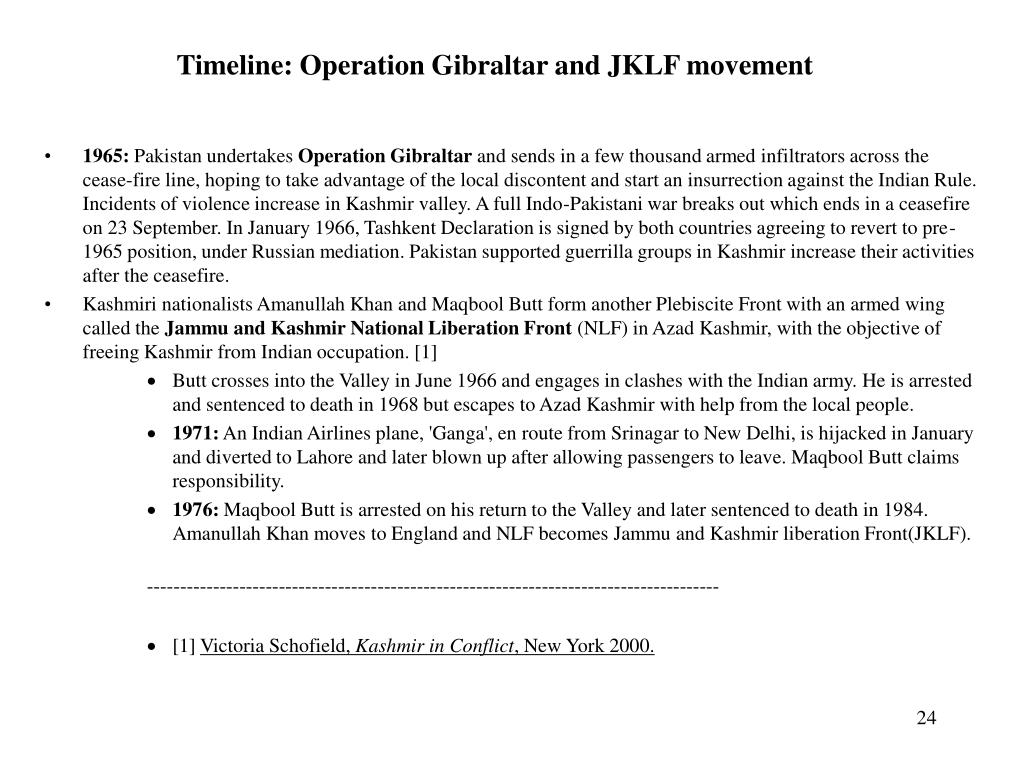 Timeline: Operation Gibraltar and JKLF movement