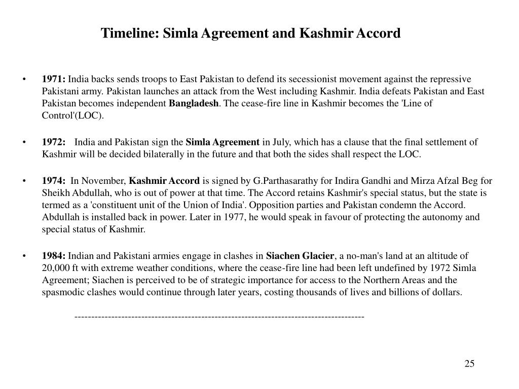 Timeline: Simla Agreement and Kashmir Accord