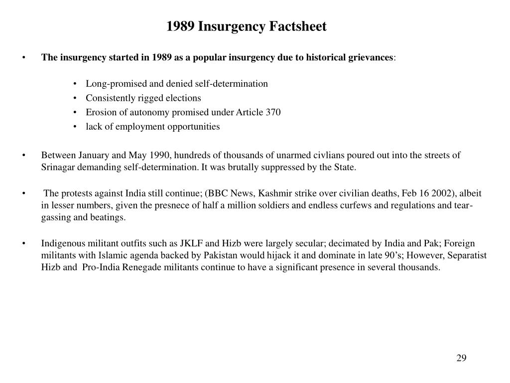 1989 Insurgency Factsheet