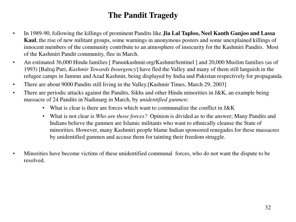 The Pandit Tragedy