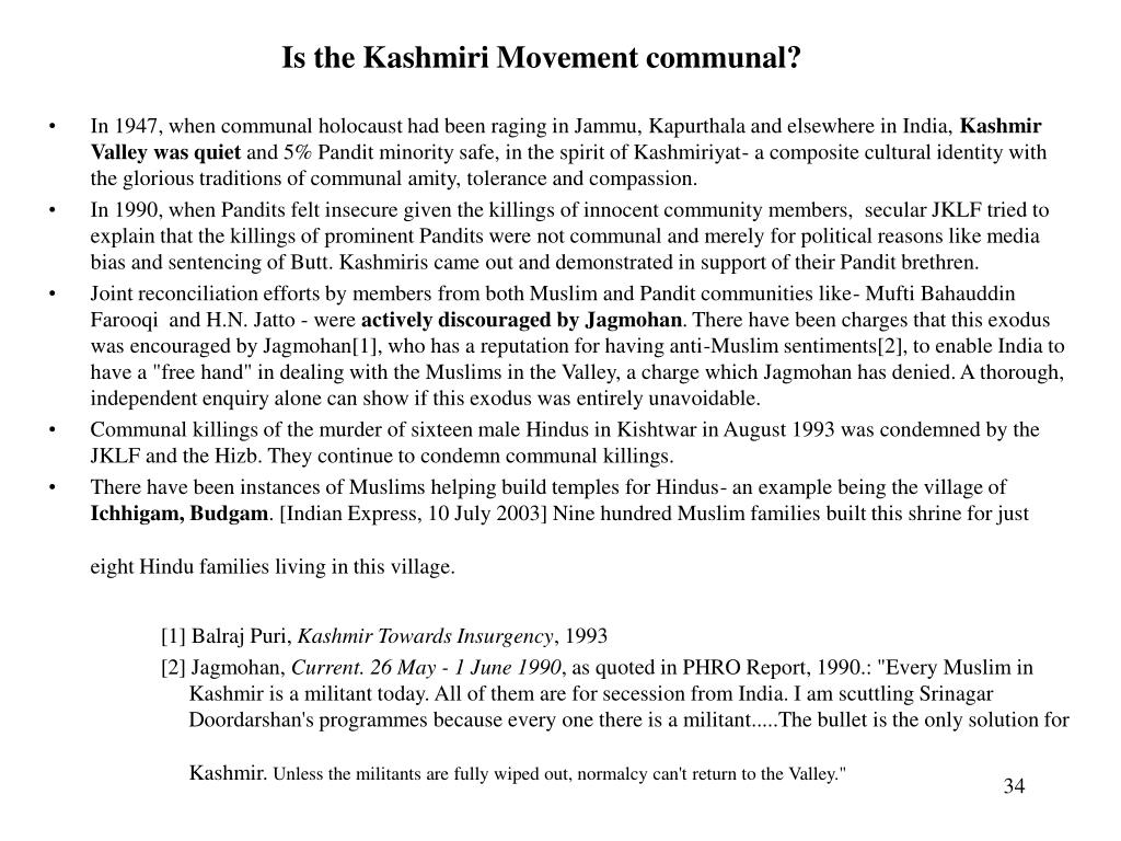 Is the Kashmiri Movement communal?