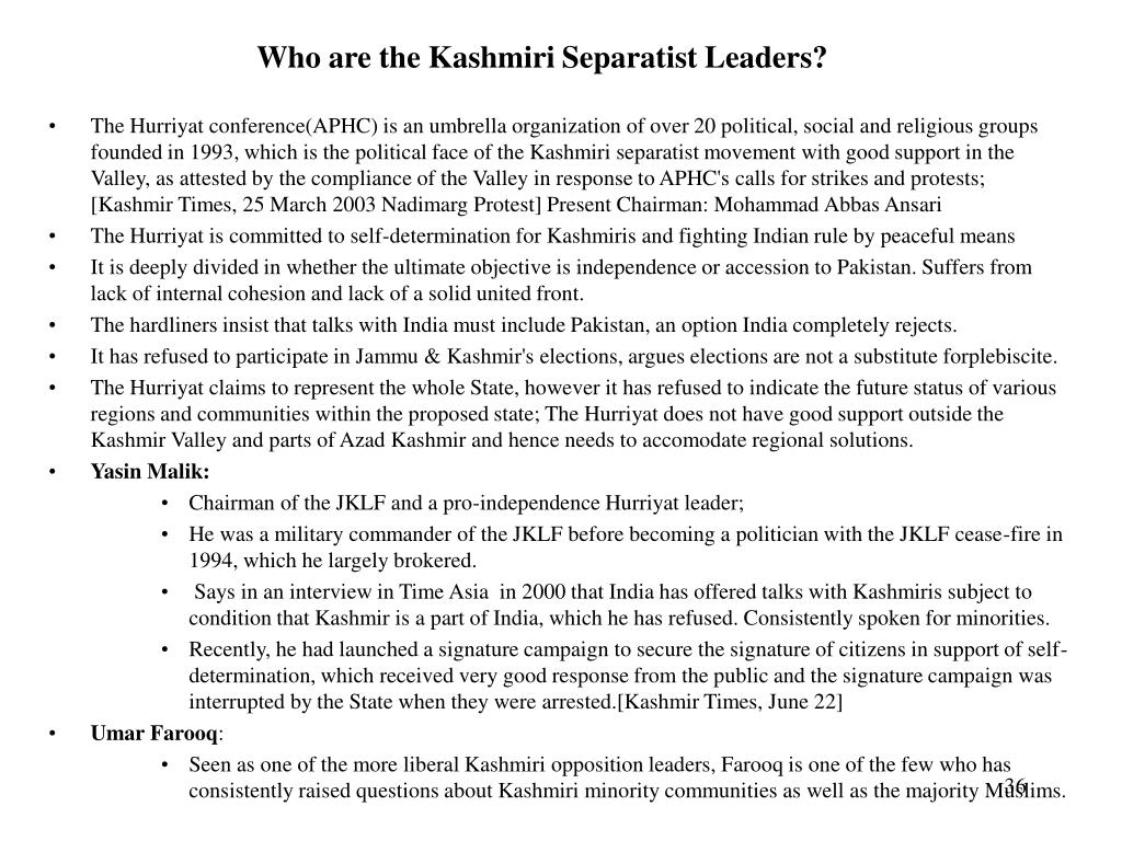Who are the Kashmiri Separatist Leaders?