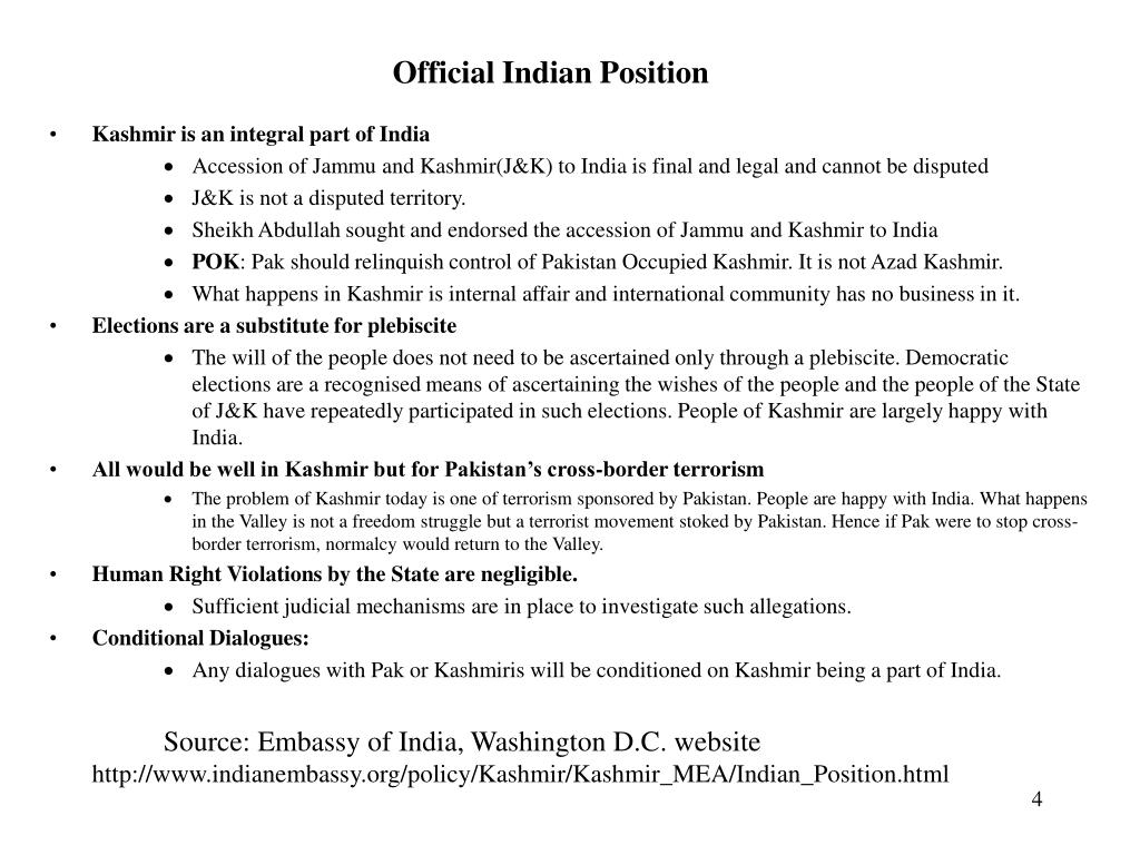 Official Indian Position