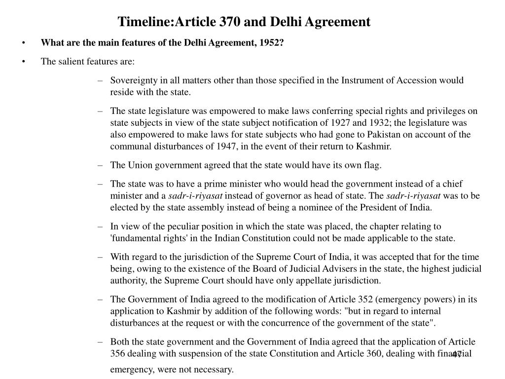 Timeline:Article 370 and Delhi Agreement