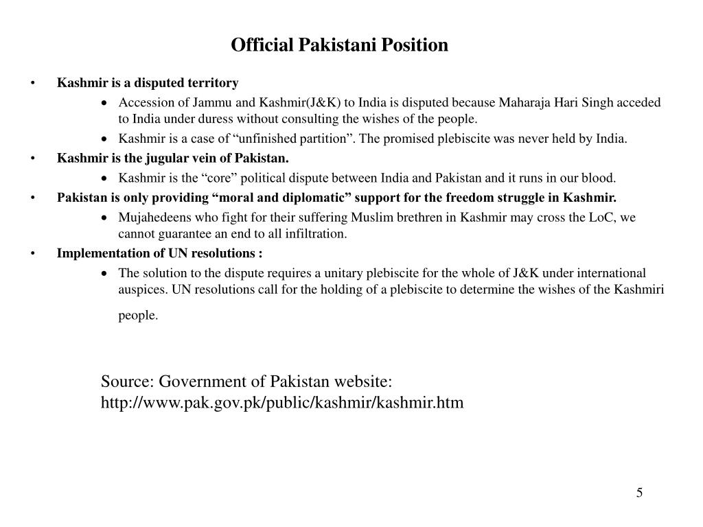 Official Pakistani Position
