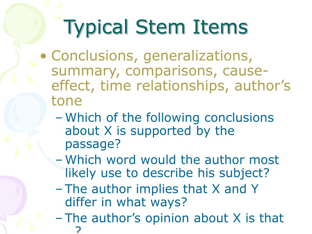 Typical Stem Items