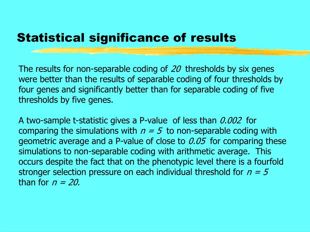 Statistical significance of results