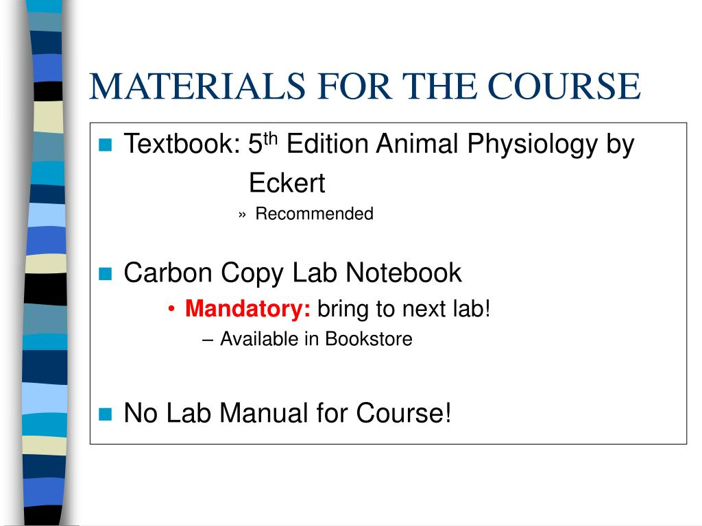 MATERIALS FOR THE COURSE